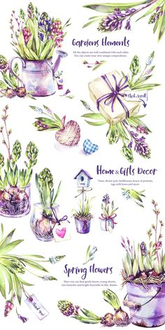 """Spring Time"" watercolor collection by Anastezia Luneva on Creative Market - Rustic Garden Decor Rustic Garden Decor, Rustic Gardens, Watercolor Flowers, Watercolor Paintings, Painting Flowers, Beautiful Fonts, Flower Images, Watercolor Illustration, Spring Time"