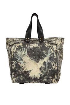 Balmain black and white dove tote bag handbag