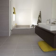 Contemporary Bathroom Flooring How To Choose The Right Ideal Home Tile In Porcelain Idea Vinyl Small Lowe B Q Depot Laminate Cement Tiles Bathroom, Grey Bathroom Floor, Vinyl Flooring Bathroom, Bathroom Vinyl, Grey Floor Tiles, Grey Flooring, Bathroom Interior, Small Bathroom, Flooring Ideas