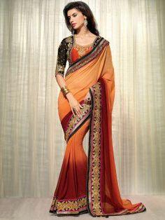 Light Orange And Maroon Georgette Saree With Zari Embroidery Work