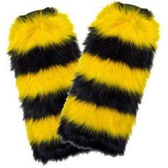 Fuzzy Fan Leg Warmers, Black/Gold
