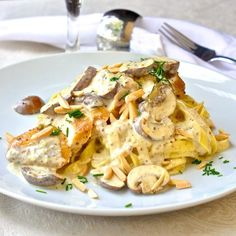 Dijon Chicken Linguine with Crimini Mushrooms and Toasted Almonds by rockrecipes #Chicken #Pasta #Mushrooms