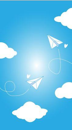 Paper Planes Clouds iPhone Wallpaper Lock Screen Blue @PanPins