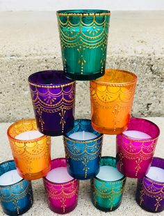 Items similar to Set of 12 Handpainted Henna Votive Candles on Etsy Henna Party, Henna Candles, Votive Candles, Diy Candle Votive Holders, Candels, Creation Bougie, Desi Wedding Decor, Wedding Favors, Arabian Nights Party