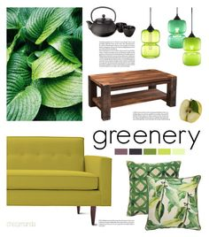 """""""Greenery"""" by chezamanda ❤ liked on Polyvore featuring interior, interiors, interior design, home, home decor, interior decorating, Jaipur, Design Within Reach, DutchCrafters and Adagio Teas"""