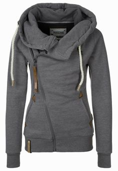 Grey sweater with zipper and two side pockets...looks so comfy!