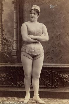 Burlesque lady from the 1890s. Back then this was considered the ideal body type.