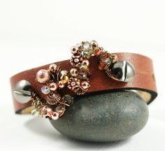 Leather Cuff - Multi Beads