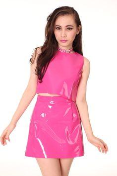 adc675386de858 Pvc Skirt, Dress Skirt, Vinyl Dress, Pink Fashion, Women's Fashion, Pink