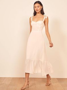 you'll want the Nikita Dress in every color. Shop your new favorite midi ruffle dress at Reformation. Fairy Wedding Dress, How To Dress For A Wedding, V Neck Wedding Dress, Sexy Wedding Dresses, Simple Cocktail Dress, Butterfly Dress, Nice Dresses, Casual Dresses, Short Dresses