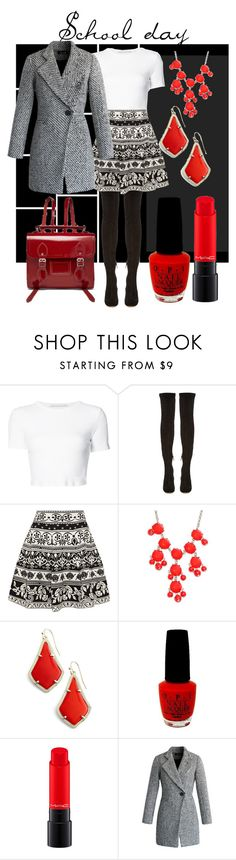 """""""School day"""" by kacenka-1 ❤ liked on Polyvore featuring Rosetta Getty, Nicholas Kirkwood, Alexander McQueen, New Directions, Kendra Scott, OPI, MAC Cosmetics, Chicwish, The Cambridge Satchel Company and school"""