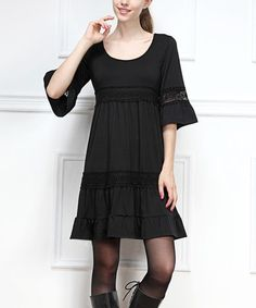 Another great find on #zulily! Black Crochet Bell-Sleeve Dress by Reborn Collection #zulilyfinds