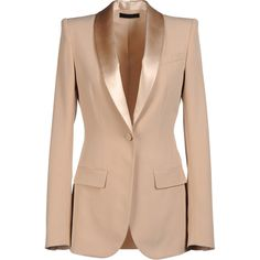 The Row Blazer ($790) ❤ liked on Polyvore featuring outerwear, jackets, blazers, the row, coats, women, silk jacket, 1 button blazer, single button blazer and beige blazer