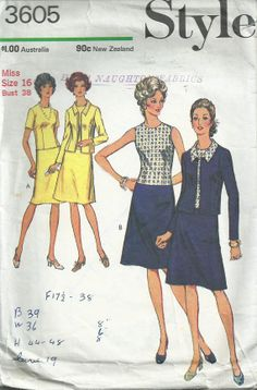 Dress and Jacket 1972 Style Pattern No.3605 by LouisaAmeliaJane, $4.00