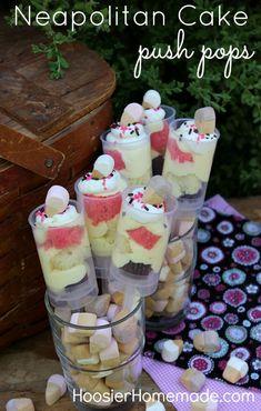 Neapolitan Cake Push Pops :: Recipe on HoosierHomemade.com