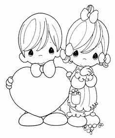 Girl with a present precious moments coloring pages