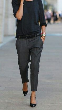 I like this slouchy shirt with ankle pants and low, pointy heels