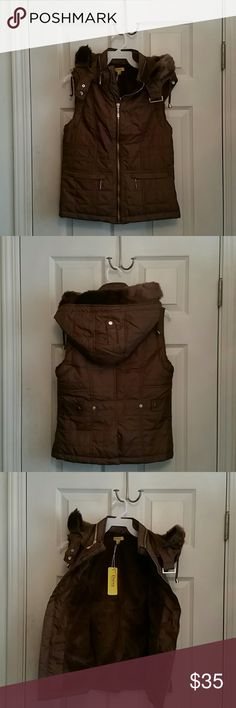 Quilted vest with detachable hood NWT brown Quilted vest with detachable hood.  Gorgeous chocolate brown color. Inside has faux fur lining to keep you warm. Pockets in the front and snaps in the back to adjust waist.  Hardware is gold color. Such a versatile vest! Perfect layering piece! Looks more expensive in person then in pictures! New with tags attached.  Price is firm! Jackets & Coats Vests