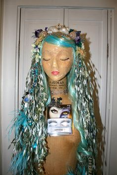 Mermaid Sea Nymph Costume Halloween Party Ball by MiaVonMink Nymph Costume, Sea Costume, Sea Creature Costume, Mermaid Wig, Mermaid Makeup, Mermaid Headpiece, Mermaid Cosplay, Mermaid Crown, Mermaid Style