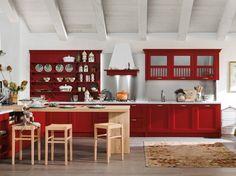 Pareti in grigio e cucina rossa - Nuance delicata e arredi rossi tra le idee per le pareti della cucina