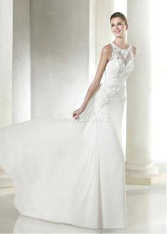 Robe de mariée avec manches fourreau longueur ras du sol dentelle - photo 3