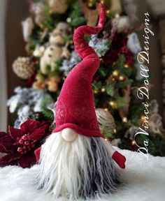 Original Gnomes by DaVinciDoll Designs© DaVinciDollDesigns Christmas Collection Swedish Norwegian TOMTE NISSE GNOME or SANTA can be Christmas Decor or all year round Decoration! Features bendable hat and arms to position any way you desire! Featuring a weighted bottom for extra