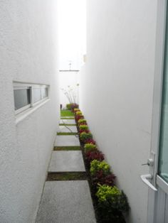 narrow walkway to backyard from hang out room