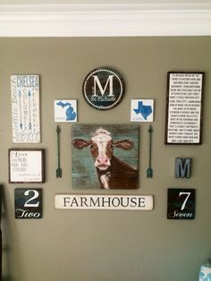 Gallery wall, circular monogram, die stressed numbers, arrow wall decor, cow paintings, movie quote sign, favorite city sign, FARMHOUSE sign, farmhouse style