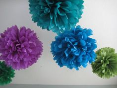 graduation party peacock feathers | Peacock Feathers - 5 Tissue Paper Pom Pom Flower DIY Decor Kit $20