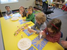 Cherry blossom craft for kids with popcorn.
