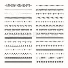 Stock vector of 'Ethnic hand drawn vector line border set and hipster scribble design element. Native brushes. Aztec geometric monochrome vintage fashion pattern for design. Illustration. Trendy doodle style.'