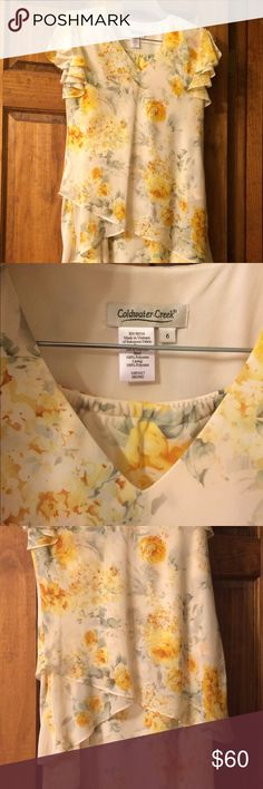 Skirt and matching top. Coldwater Creek floral skirt outfit. It's flowing and feminine, shades of yellow. It's never been worn. Coldwater Creek Skirts Skirt Sets
