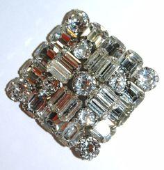 Vintage WEISS - Square - Diamond - Shape Clear Rhinestone Brooch Pin | eBay