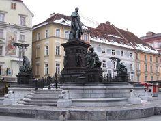 Fountain in Graz city center Places To Travel, Places To Go, Macedonia Greece, Graz Austria, Innsbruck, Tokyo Japan, European Travel, Slovenia, Amazing Places