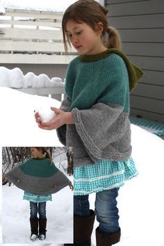 Child's poncho with buttons | free pattern
