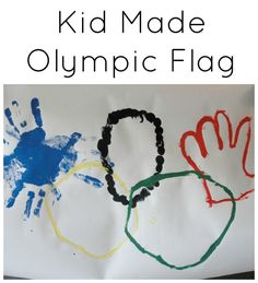 kid made olympic flag - 5 different painting techniques for kids