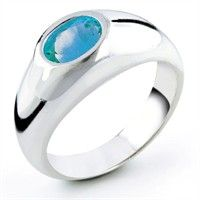 Sterling Silver Oval Blue Topaz Ring, Size 7 blue topaz silver rings