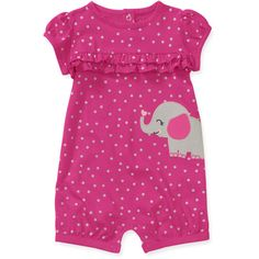 Child of Mine by Carters Newborn Girls' Dot Elephant Romper