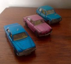 Three diecast model cars ( all left hand drive ) from the 1970s/80s. (£5 each)  1. Matchbox Superfast no. 56, Mercedes 450 SEL. 1979 Blue paintwork with some scratches, doors open, cream interior and tow bar.  2. Matchbox series no 57 Volkswagen 1600 TL..1967-70 Pink with light scratching, opening doors, cream interior, one front spotlamp missing.  3. Majorette Renault 5 1/55 scale ( no. 257 )... 1970s. Turquoise with some scratches, cream interior..has front ariel, but not wing mir...