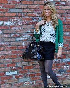 WineTasteGirl.com  Navy and Green,  Polka Dots,  Ankle Boots