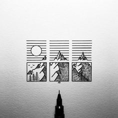 Doodle Art 558939003755431977 - Outdoor triptych Source by cmyriamw Cool Art Drawings, Pencil Art Drawings, Art Drawings Sketches, Sharpie Drawings, Easy Drawings, Geometric Drawing, Geometric Art, Doodle Art Drawing, Easy Doodle Art