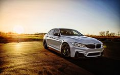 Download wallpapers 4k, BMW M3, F80, 2017 cars, tuning, white m3, german cars, BMW