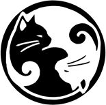 Two intertwined yin and yang cats in black and white.  © 2006 Barbara McConkey/InForm Design