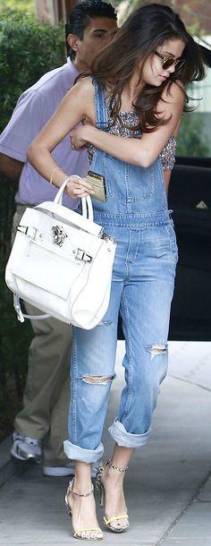 Denim overalls + grey patterned crop top + white handbag