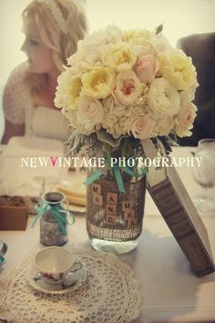 Wedding Burlap Mason Jars. $10.00, via Etsy.