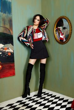 This zig-zag multi colored fur sweater is my passion! Positivity pill sweater, with my favorite black thigh high boots!  #aofall16