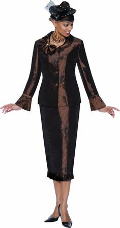 women's church suits and hats   Terramina 7295 Womens Brown Church Suit image