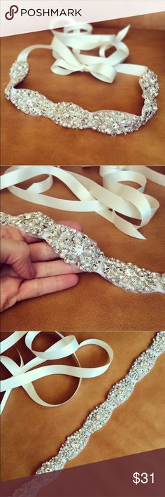 Purchased for wedding, but never used it. Handmade item-ivory Wedding Belt, ivory Wedding Sash Rhinestone Size:45x4cm(18x1.6inches) Perfect for brides,bridal parties,and any other formal occasion Gender:Women;Style:Chic & Modern;Occasion:Party & wedding Can be tied in a bow in the back of the gown or altered to your gown to be worn as a bridal belt Dresses Wedding