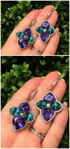 I adore the colors in these wonderful gemstone earrings from Campbellian Collection.
