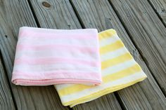 """Set of 2 Sunshine & """"Cheery"""" Blossom Gift Set- Cotton Knit Swaddle Stretch Snuggle Baby Girl Pink Yellow Lace Stripe by Mint Chocolate Chip"""